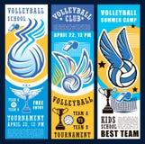 Bola de juego del deporte del voleibol, red y taza del trofeo ilustración del vector