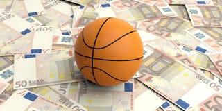 bola de la cesta de la representación 3d en 50 billetes de banco de los euros Imagenes de archivo