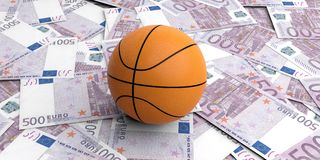 bola de la cesta de la representación 3d en 500 billetes de banco de los euros Imagen de archivo