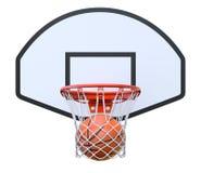 Bola de la cesta en el aro Fotografía de archivo