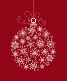 Bola de la Navidad blanca de copos de nieve ilustración del vector