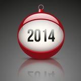 Bola de la Navidad con el Año Nuevo 2014 de la fecha Fotografía de archivo