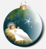 Bola de la Navidad con el bebé Jesús Foto de archivo libre de regalías