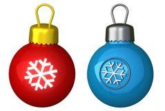 Bola de la Navidad con el copo de nieve 3d Imagen de archivo libre de regalías
