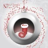Bola de la Navidad con la bota y el confeti de santas stock de ilustración