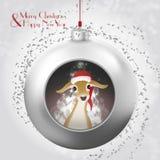 Bola de la Navidad con los ciervos del bebé y el resplandor mágico dentro stock de ilustración