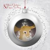 Bola de la Navidad con los ciervos, el resplandor mágico y el confeti gris ilustración del vector
