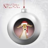 Bola de la Navidad con los ciervos mágicos del brillo y del bebé en el fondo gris libre illustration