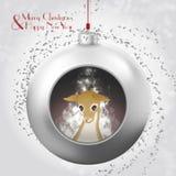 Bola de la Navidad con resplandor mágico, confeti y ciervos en el fondo nevoso libre illustration