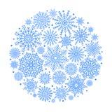 Bola de la Navidad creada de icono azul de los copos de nieve Imágenes de archivo libres de regalías