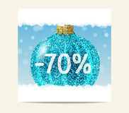 Bola de la Navidad del brillo de la turquesa para la venta de la Navidad Fotografía de archivo