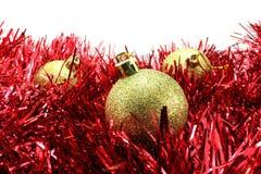 Bola de la Navidad del oro tres Fotos de archivo libres de regalías
