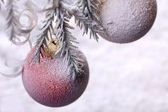 Bola de la Navidad en árbol de abeto Decoración del Año Nuevo en nevado Fotos de archivo
