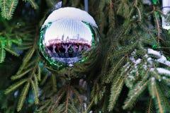 Bola de la Navidad en el árbol de navidad verde Imágenes de archivo libres de regalías