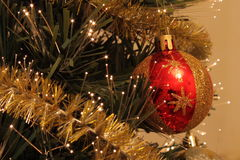 Bola de la Navidad en el pinetree Imagen de archivo