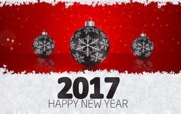 Bola de la Navidad en fondo del invierno con nieve y copos de nieve H Imagen de archivo