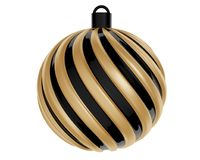 Bola de la Navidad en negro y color oro Bola torcida de la Navidad en el fondo blanco representación 3d Fotografía de archivo libre de regalías