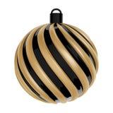 Bola de la Navidad en negro y color oro Bola torcida de la Navidad en el fondo blanco Vector Imagen de archivo