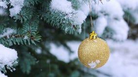 Bola de la Navidad en la rama del abeto cubierta con nieve La Navidad metrajes