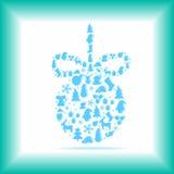 Bola de la Navidad en un fondo azul Fotos de archivo libres de regalías