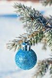 Bola de la Navidad en una rama de un árbol de navidad en helada y nieve Imagen de archivo libre de regalías