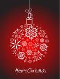 Bola de la Navidad hecha de los copos de nieve blancos stock de ilustración