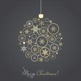 Bola de la Navidad hecha del copo de nieve del oro y de la plata Imagenes de archivo