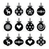 Bola de la Navidad, iconos de la chuchería de la Navidad fijados Fotografía de archivo libre de regalías