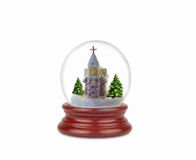Bola de la nieve de la Navidad o globo del vidrio aislado en blanco Imagenes de archivo