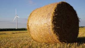 Bola de la paja en un campo con el parque eólico en fondo metrajes