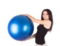 Bola de los aeróbicos de la mujer Foto de archivo libre de regalías