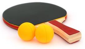 Bola de los tenis de mesa con el palo Imagen de archivo libre de regalías