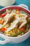 Bola de masa hervida y sopa de fideos chinas Foto de archivo libre de regalías