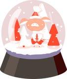Bola de neve branca e vermelha do porco com árvore, flocos de neve no fundo branco ilustração royalty free