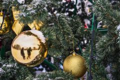 Bola de oro de la Navidad en el árbol en la nieve imagen de archivo libre de regalías