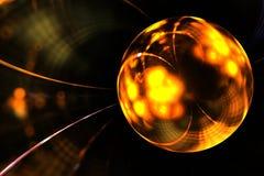 Bola de oro mágica del fractal abstracto en el contexto oscuro Fotos de archivo libres de regalías