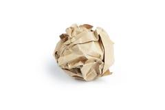 Bola de papel arrugada aislada en blanco Foto de archivo libre de regalías