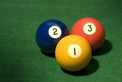 Bola de piscina 1, 2 y 3 Imágenes de archivo libres de regalías