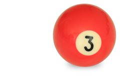 Bola de piscina número 3 Imagen de archivo libre de regalías