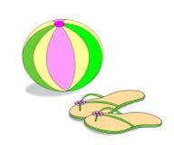 Bola de playa y sandalias Imagen de archivo libre de regalías