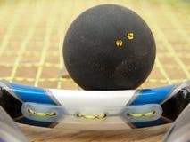 Bola de polpa amarela dobro do ponto na raquete Foto de Stock