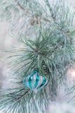 A bola de prata pesa no ramo do pinho Imagens de Stock Royalty Free