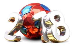Bola 2018 de Rússia A bola colorida russo 3d do futebol do futebol rende Imagens de Stock Royalty Free