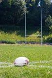 Bola de rugby que encontra-se na grama Fotos de Stock Royalty Free