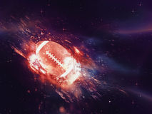 A bola de rugby voa Fotos de Stock Royalty Free