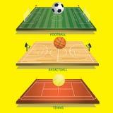 Bola de tênis do campo 3D do tênis do fundo da ilustração do vetor Fotos de Stock Royalty Free