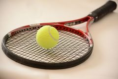 Bola de tênis em uma raquete Fotografia de Stock Royalty Free