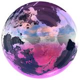 A bola de vidro contem a terra fotografia de stock