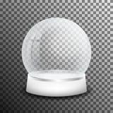 Bola de vidro da neve do Natal no fundo transparente Bola de cristal realística da neve com reflexão clara ilustração royalty free