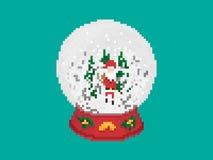 Bola de vidro da neve do Natal no pixel Art Style Foto de Stock Royalty Free